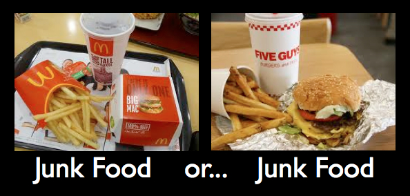 ava aston went to get a burger but it turns out the debate lead to which was healthier, five guys burgers and fries or mcdonald's.  either way it's all junk food.