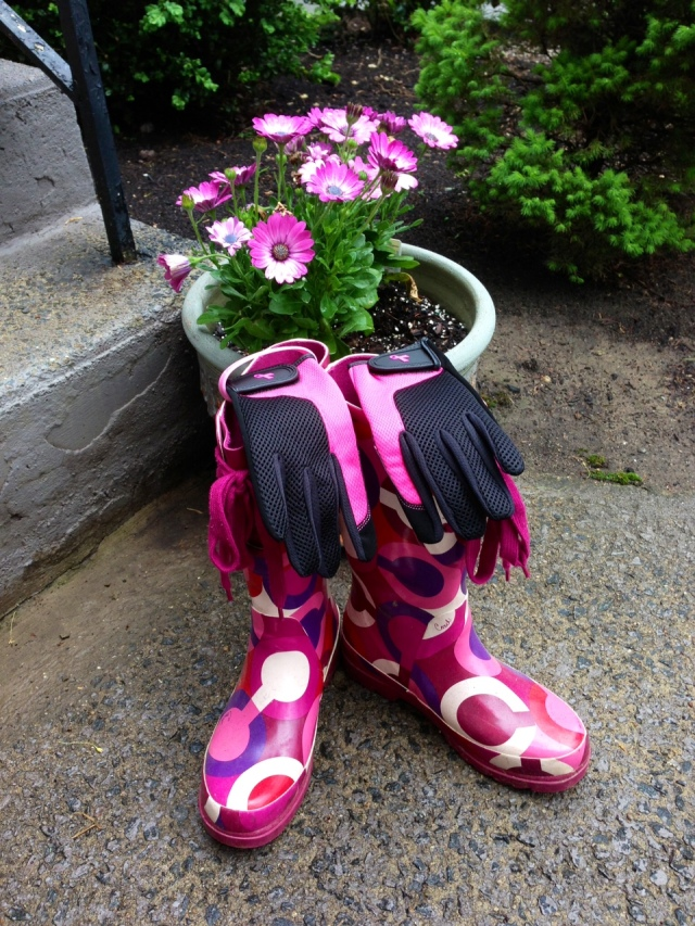 Doesn't everyone garden in pink rubber Coach boots? No way I would wear my sneakers out there.  Hello?!?
