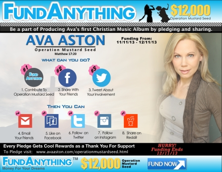 Operation Mustard Seed on FundAnything.com for Ava's New Christian Album.